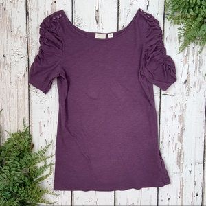Anthropologie Postage Stamp Purple Rouched Top M